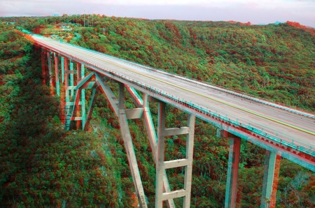 3D stereo anaglyph  bridge over a green valley in Cuba (need red-cyan glasses) Stock Photo