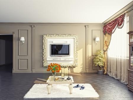 modern living-room interior (3D rendering) Stock Photo