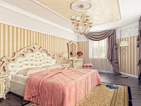 modern luxury bedroom interior (3D rendering) Stock Photo