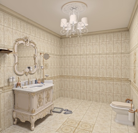 bathroom: Modern Bathroom interior with  tiles and mirror (3D rendering) Stock Photo