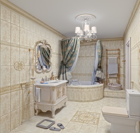 Modern Bathroom interior with  tiles and mirror (3D rendering) photo