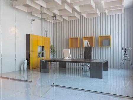 modern office interior: modern interior design of office room (3D render) Stock Photo