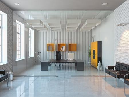 modern interior design of office room (3D render) Stock Photo - 12025359