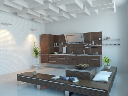 the modern kitchen interior design (3D rendering) photo