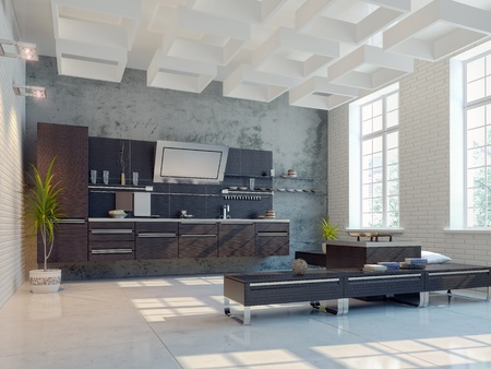 the modern kitchen inter design (3D rendering) Stock Photo - 12354287