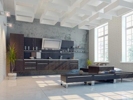 sleek: the modern kitchen interior design (3D rendering) Stock Photo