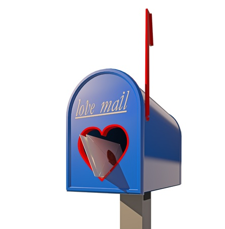 lowers: mailbox with heart-shape hole for love mail (3D concept) Stock Photo