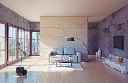 아름다운 현대 거실 인테리어 (그림)