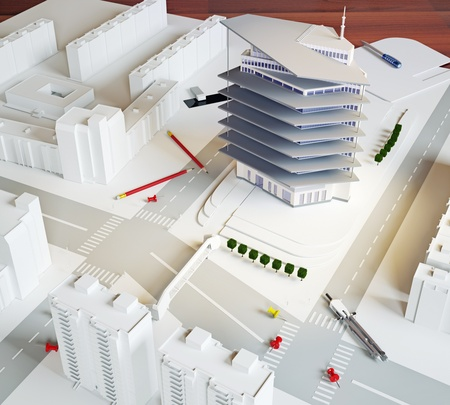 planing: architectural model of a modern building (illustration) Stock Photo