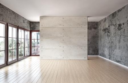 grote ruime kamer, verlicht door natuurlijk licht door de ramen