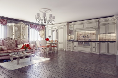 luxury kitchen interior in classic style (3D rendering)  photo