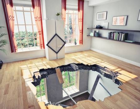 collapse: broken  floor of a residential apartment  illustrated concept  Stock Photo