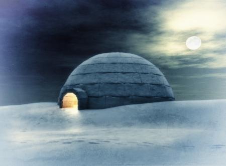 esquimal: Igloo en la noche 3D y dibujo a mano elementos combinados