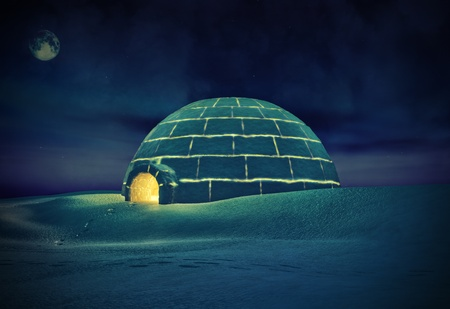 Igloo  at night   3D and hand-drawing elements combined   Stock Photo - 12803537