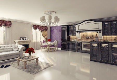 luxury condo: luxury kitchen interior in classic style  3D rendering   Stock Photo