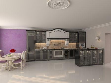 luxury kitchen interior in classic style  3D rendering   Stock Photo - 12803519