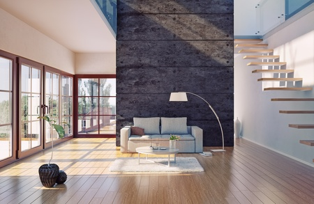 living room wall: Beautiful modern living room interior  cg illustration  Stock Photo