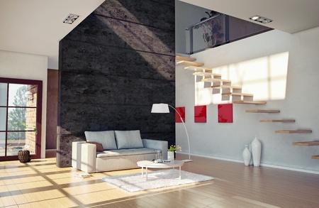 Beautiful modern living room interior  cg illustration  Stock Photo