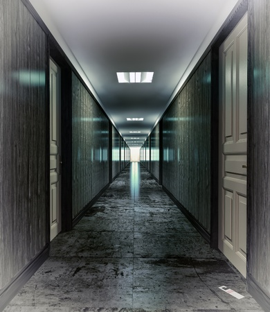 hospital corridor: Dark, mystical  corridor  illustration concept