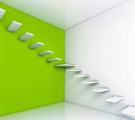 home addition: stair concept with green background  illustration  Stock Photo