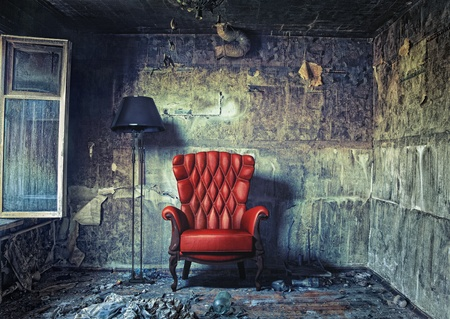 dirty room: luxury armchair in grunge interior  Photo compilation  Photo and hand-drawing elements combined   Stock Photo