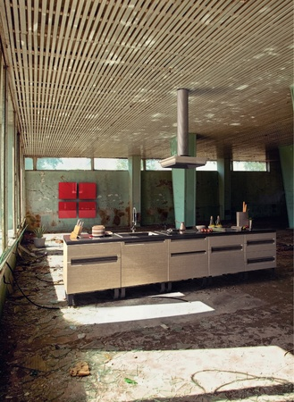 messy kitchen: modern kitchen in grunge interior  Photo compilation  Photo and hand-drawing elements combined   Stock Photo
