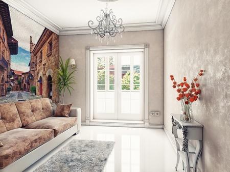 modern light room interior  3d rendering