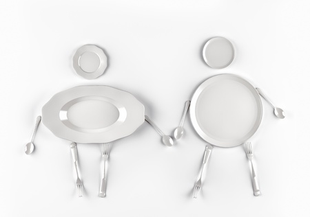 figures of men and women,  stylized by dishes on a white background photo