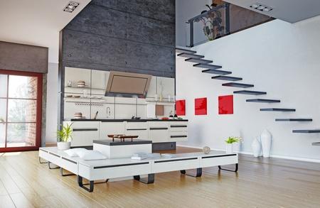 de moderne keuken interieur 3D rendering