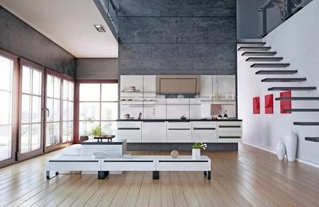 the modern kitchen interior design  3D rendering  Banco de Imagens