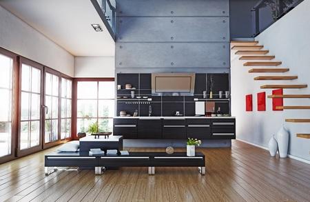 the modern kitchen interior design  3D rendering  Zdjęcie Seryjne