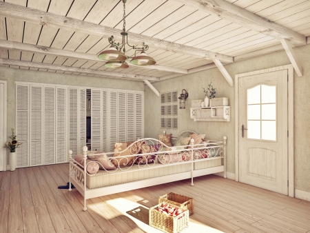 Provence style interior  3D rendering