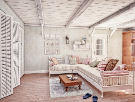 Provence style interior  3D rendering  Stock Photo - 13635340