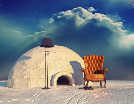 igloo: luxury armchair in winter landscape and igloo  3d concept  Stock Photo