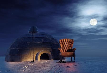 esquimal: de lujo en el sill�n de paisaje de invierno y el concepto de igl� 3d