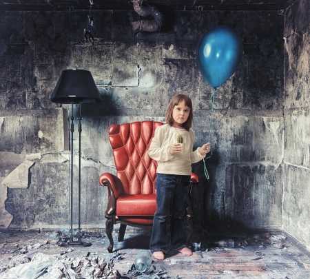 little girl   in grunge interior  Photo and hand-drawing elements combined   photo