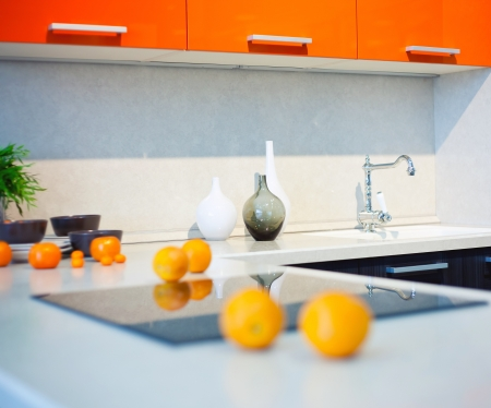 kitchen interior with fruits and dishes on countertop  beautiful Depth Of Field effect   photo