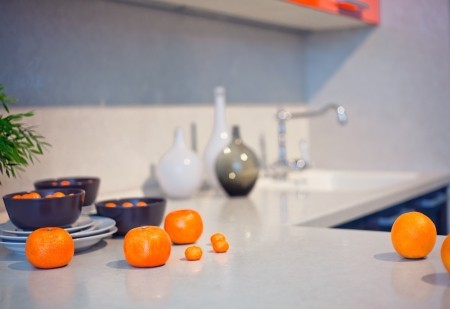 bar counter:  kitchen interior with fruits and dishes  on  countertop  beautiful Depth Of Field effect