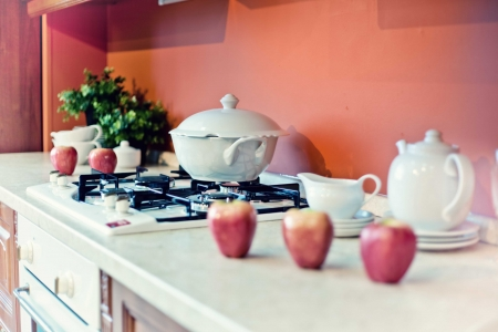 kitchen interior with fruits and dishes  on  countertop  beautiful Depth Of Field effect Stock Photo - 14094870