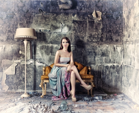antique furniture: young beautiful women, sitting in vintage sofa   Photo and hand-drawing elements combined   Stock Photo
