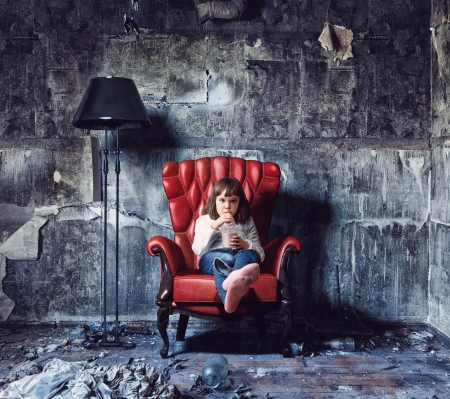charred: little girl sitting in  grunge interior  Photo and hand-drawing elements combined