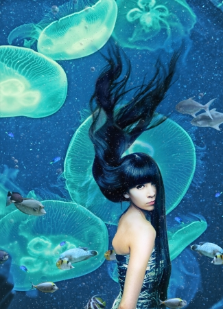 beautiful mermaid  magic underwater   photo compilation   photo