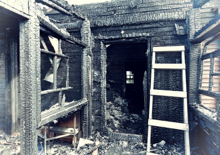run down: Village house after the fire