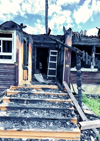 house on fire: Village house after the fire
