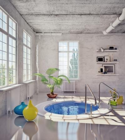 modern bathroom in loft interior   3d illustration Stock Illustration - 15042503