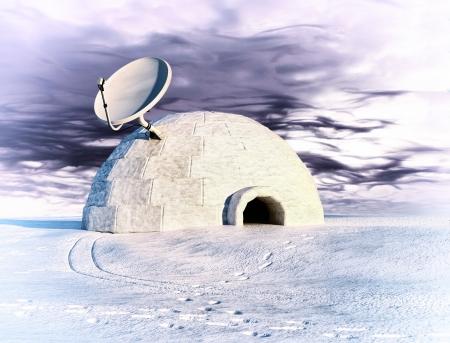 antena parabólica y iglú en invierno paisaje concepto 3d