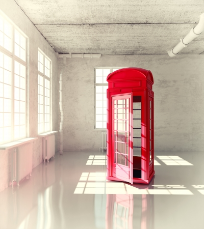 telephone together: retro call-box in the empty room  3d illustrated concept