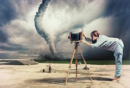 compilation: woman, taking photo by vintage camera and tornado  Photo compilation Stock Photo