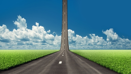 liftoff: asphalt road, going to the sky  illustrated concept  Stock Photo