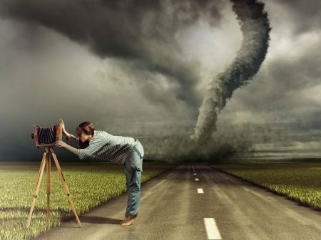 woman, taking photo by vintage camera and tornado  Photo compilation  Photo and hand-drawing elements combined  The grain and texture added   photo